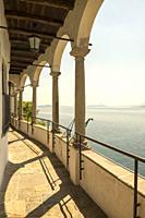 Eremo di Santa Caterina del Sasso and lake Maggiore in Leggiuno in Lombardy, Italy.