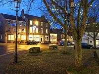 Fairy Lights in St James Square and the High Street at Christmas Boroughbridge North Yorkshire England.