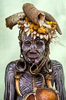 A Portrait Of An Elderly Woman From The Mursi Tribe, Mursi Village, Omo Valley, Ethiopia.