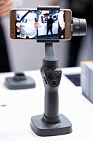 March 3, 2018, Yokohama, Japan - The new DJI OSMO MOBILE 2 on display at the CP+ Camera & Photo Imaging Show 2018 in Pacifico Yokohama. Japan's larges...