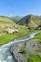 Settlement along a mountain river, Naryn gorge, Naryn Region, Kyrgyzstan.
