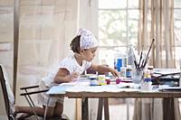 little girl painting.