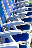 Deck chairs on board passenger ship.