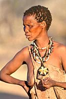 San woman (bushmen woman) portrait, Kalahari, North Namibia, Namibia