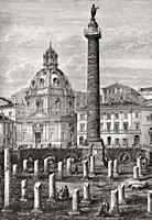 Remains of the Basilica Ulpia, Church of the Most Holy Name of Mary at the Trajan Forum, Rome, Italy, 19th Century.