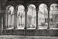 The cloister at the Basilica of Saint John Lateran, Rome, Italy, 19th Century.