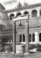 The cloister Yard, fountain, Basilica of Saint John Lateran, Rome, Italy, 19th Century.