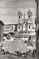 The Spanish Steps, Trinità dei Monti church at the top, Rome, Italy, 19th Century.