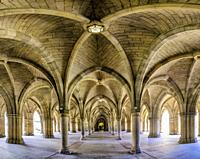 View of cloisters between the quadrangles at Glasgow University , Scotland, United Kingdom.