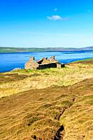 Island of Rousay, Orkney, Scotland. Derelict ruined croft house hill farm near Westness. West over Eynhallow Sound. Path through early summer heather.