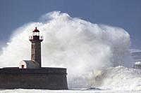 Heavy sea in the lighthouse of Porto, Portugal.