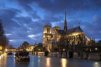 Notre Dame cathedral and Seine river, Paris, France.