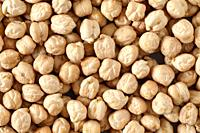 Background of dried chickpea or gram, leguminous rich in protein.
