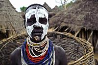 Woman belonging to the Karo tribe ( Omo valley, Ethiopia).