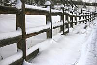 Snowed Fence in Durango, Colorado, USA