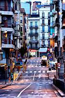 Carrer de Sant Roc, typical side street, Sants-Montjuïc, Barcelona, Catalonia, Spain, Europe