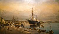 The port of Volos. oil on canvas. Painting collection 'seascapes' by Constantinos Volanakis at the Theocharakis Foundation for the Fine arts and music...