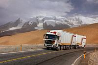 13,451 foot Suvax Pass along the Karakoram Highway passing through the Pamir Mountains in Xinjiang China. It is the highest paved international road i...