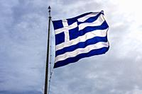 Blue White Greek Flag Summit Acropolis Athens Greece. Cross symbolizes Greek Orthordox Chritiianity, the religion of Greece, Acropolis is symbol of At...
