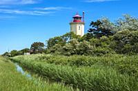 Lighthouse, Westermarkelsdorf, Fehmarn, Baltic Sea, Schleswig-Holstein, Germany.
