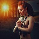 The last Amazon woman - pray for Poseidon, fantasy style female portrait.