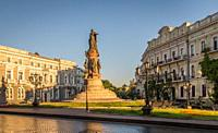 Monument to the founders of Odessa in Ukraine at the summer morning.