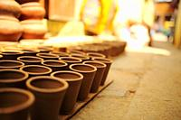 Variety of earthenware made out of clay using traditional method.