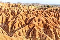 Scenic View Of Tatacoa desert red zone, Huila, Colombia.