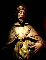 A sculpture of Saint Louis, King of France, decorates Galería Tesoros de la Catedral de Puebla museum in Puebla, Mexico