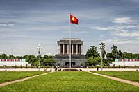 The Ho Chi Minh Mausoleum, located in the center of Ba Dinh Square, Hanoi (Vietnam).