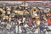 "Corridor Mural, """"The Great City of Tenochtitlan"""", by Diego Rivera, 1945, Palacio Nacional de Mexico, Mexico City, Mexico"