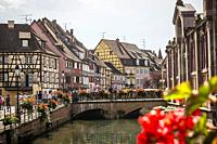 View of Little Venice in Colmar, Alsace (department of Haut-Rhin, region of Grand Est, France).