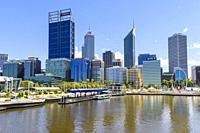 Perth cityscape including Elizabeth Quay and skyscrapers of Perth CBD, Perth, Western Australia, Australia.