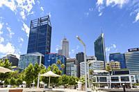 Perth cityscape viewed from Elizabeth Quay, Perth, Western Australia, Australia.