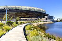The boardwalk around the new Perth Optus Stadium on Burswood Peninsula on the Swan River, Perth, Western Australia, Australia.