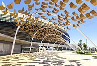 Shade detail of the new Perth Optus Stadium on Burswood Peninsula on the Swan River, Perth, Western Australia, Australia.