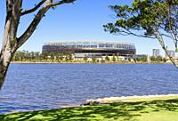 The new Perth Optus Stadium on Burswood Peninsula looking over the Swan River, Perth, Western Australia, Australia.