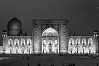 Tilla-Kori Madrassa At Night, Photographed From The Viewing Platform, The Registan, Samarkand, Uzbekistan.