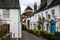 Traditional Cottages and The Harveys Brewery Building, Lewes, East Sussex, UK.
