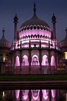 UK, England, Sussex, Brighton, Royal Pavilion reflection dusk.