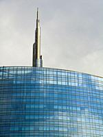 Detail of the Unicredit Tower, Piazza Gae Aulenti, Milano, Milan, Lombardy, Italy, Europe.