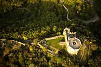 High angle view of the small castle of Aghinolfi in Montignoso, Massa, Italy.