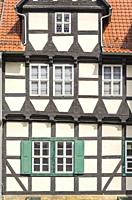 Klopstock Museum and typical half-timbered house at Schlossberg in Quedlinburg, Saxony-Anhalt, Germany.