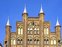 View of the roof gable of the Wulflamhaus building, Hanseatic City of Stralsund, Mecklenburg-Pomerania, Germany.