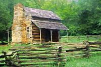 Impressionistic Art of the John Oliver Place in Cades Cove, Great Smoky Mountains National Park, Tennessee, United States.