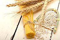 organic Raw italian pasta and durum wheat grains crop.
