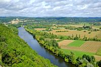 Late summer view over patchwork fields and river of the Dordogne valley near Castelnaud-la-Chapelle, Aquitane, France.