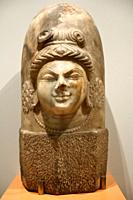 Marble sculpture of the Hindu God Shiva as the abstract Linga with one face in the Kashmiri style 9th Century at ROM Toronto Canada