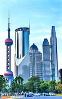 Steet Tourists Oriental Pearl TV Tower Pudong Cityscape Shanghai China.