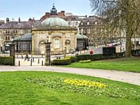 The Royal Pump Room Museum from Valley Gardens in Harrogate North Yorkshire England.